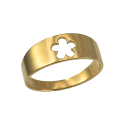 Polished Yellow Gold Hawaiian Plumeria Flower Ring Band