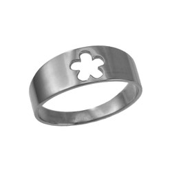 Polished White Gold Hawaiian Plumeria Flower Ring Band
