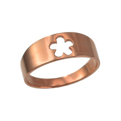 Polished Rose Gold Hawaiian Plumeria Flower Ring Band