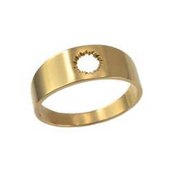 Polished Yellow Gold Bullet Hole Cut Out Ring Band