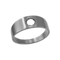 Polished White Gold Bullet Hole Cut Out Ring Band