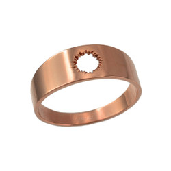 Polished Rose Gold Bullet Hole Cut Out Ring Band