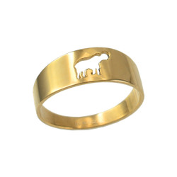 Polished Yellow Gold Elephant Cut Out Ring Band