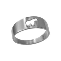 Polished White Gold Elephant Cut Out Ring Band