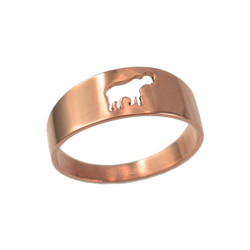 Polished Rose Gold Elephant Cut Out Ring Band