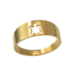 Polished Yellow Gold Sea Turtle Cut Out Ring Band