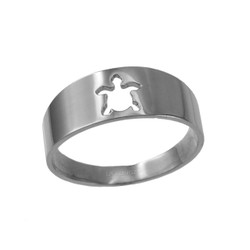 Polished White Gold Sea Turtle Cut Out Ring Band