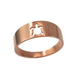 Polished Rose Gold Sea Turtle Cut Out Ring Band