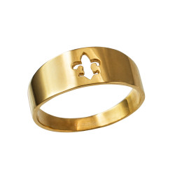 Polished Yellow Gold Fleur De Lis Cut Out Ring Band
