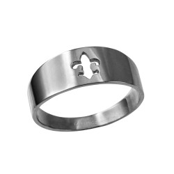 Polished White Gold Fleur De Lis Cut Out Ring Band