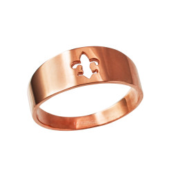 Polished Rose Gold Fleur De Lis Cut Out Ring Band