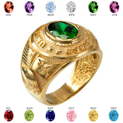 Mens Yellow Gold US Marine Corps USMC Birthstone CZ Ring