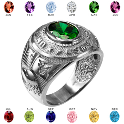 Mens White Gold US Marine Corps USMC Birthstone CZ Ring