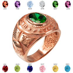 Mens Rose Gold US Marine Corps USMC Birthstone CZ Ring