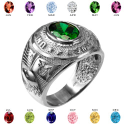 Mens Sterling Silver US Marine Corps USMC Birthstone CZ Ring