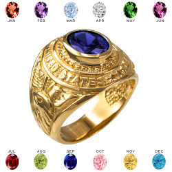 Yellow Gold US Marines USMC Birthstone Mens Ring