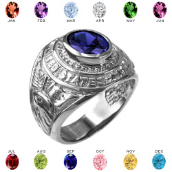 White Gold US Marines USMC Birthstone Mens Ring