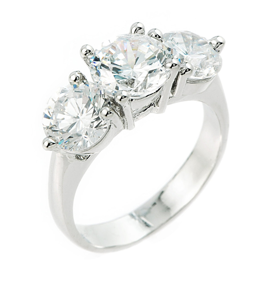 10k White Gold 3 Stone Cubic Zirconia Engagement Wedding Ring