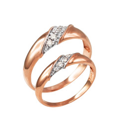 Diamond Wedding Ring Band Duo Set in Rose Gold