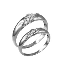 Diamond Wedding Ring Band Duo Set in Sterling Silver