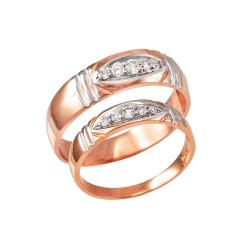 Diamond Wedding Ring Band Set in Rose Gold
