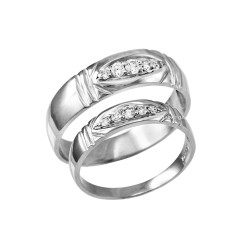 Diamond Wedding Ring Band Set in Sterling Silver
