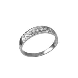 4.5MM Womens Diamond Wedding Band in Sterling Silver