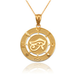 Yellow Gold Eye of Ra Good Luck Amulet Pendant Necklace