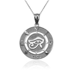 White Gold Eye of Ra Good Luck Amulet Pendant Necklace