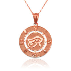 Rose Gold Eye of Horus Good Luck Amulet Pendant Necklace