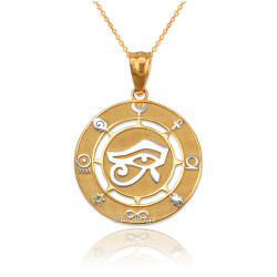 Two-Tone Yellow Gold Eye of Ra Good Luck Amulet Pendant Necklace
