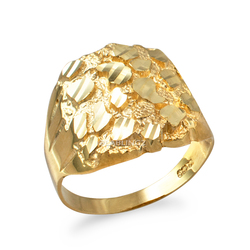 Yellow Gold Mens Sparkle Cut Nugget Ring