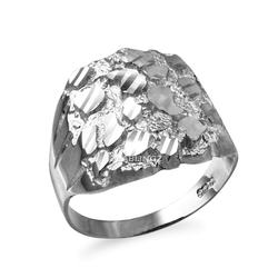 White Gold Mens Sparkle Cut Nugget Ring