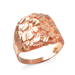 Rose Gold Mens Sparkle Cut Nugget Ring