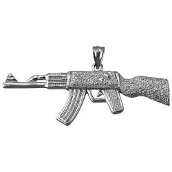 Sterling Silver AK-47 Rifle Gun Pendant
