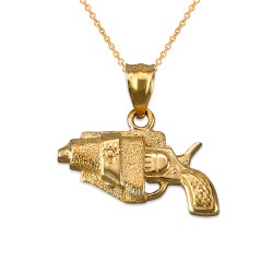 Yellow Gold Revolver Gun in Holster Charm Necklace