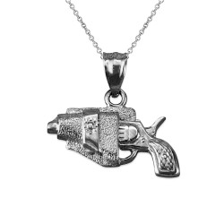 White Gold Revolver Gun in Holster Charm Necklace