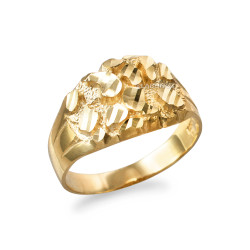 Yellow Gold Midsize Sparkle Cut Nugget Ring