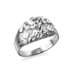White Gold Midsize Sparkle Cut Nugget Ring