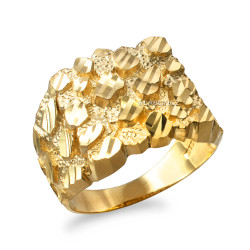 Yellow Gold Mens DC Nugget Ring