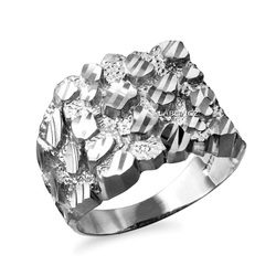 White Gold Mens DC Nugget Ring