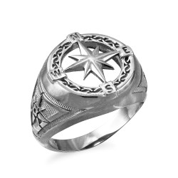 White Gold Compass Ring