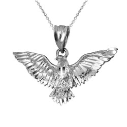 White Gold Falcon Eagle DC Pendant Necklace