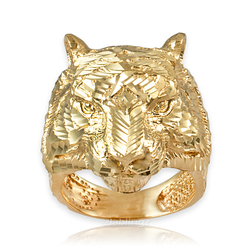 Mens Sparkle-Cut Yellow Gold Tiger Head Ring