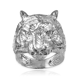 Sterling Silver Mens Sparkle-Cut Tiger Head Ring
