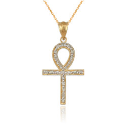Yellow Gold Egyptian Ankh Cross Diamond Pendant Necklace