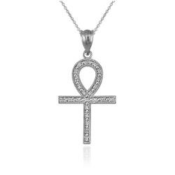 Diamond White Gold Egyptian Ankh Cross Pendant Necklace