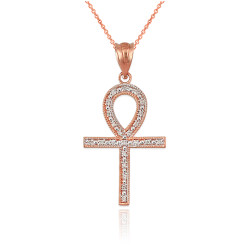 Diamond Rose Gold Egyptian Ankh Cross Pendant Necklace