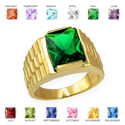 Mens Square CZ Birthstone Watchband Ring in Yellow Gold