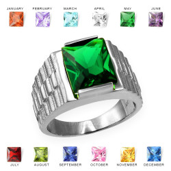 Mens Square CZ Birthstone Watchband Ring in White Gold
